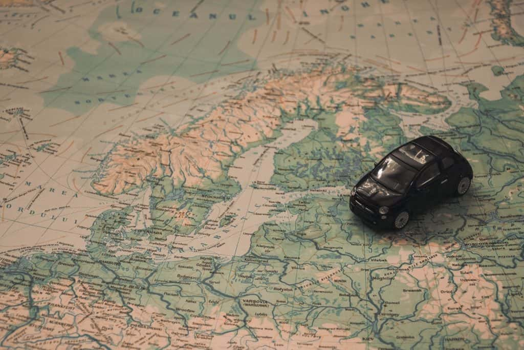 Map with toy car