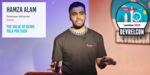 Hamza Alam speaking at DevRelCon London 2019